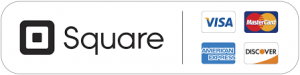 """Logo for """"Square"""", a payments firm, with major credit card logos."""